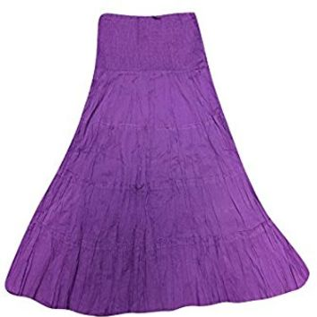 Mogul Womens Maxi Skirt Purple A-line Crinkle Flare Bohemian Sexy Long Skirts