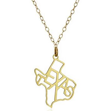 Kris Nations State Pride Collection Medium Texas Letters Necklace Gold