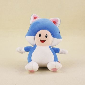 Super Mario party nes switch 18cm  Bros KINOPIO Doll 3D World Game Cartoon Cat Blue Mushroom Toad Stuffed Animal Plush Toys AT_80_8