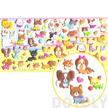 Kawaii Pet Themed Kitty Cat and Dog Shaped Animal Puffy Stickers from Japan