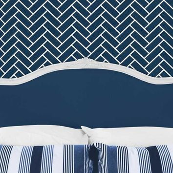 Bed Headboard with Pillows and Navy Chevron Wall Printed Backdrop - 6248
