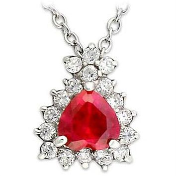 A Vintage 3.2CT Heart Cut Red Ruby Russian Lab Diamond Accent Necklace