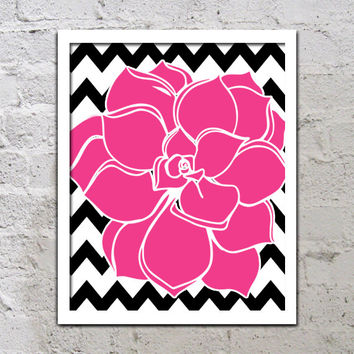 Bold Colorful Dahlia Flower Chevron Black Hot Pink Baby Decor Wall Art Poster Nursery Print Bedroom Bathroom