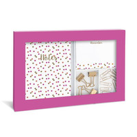 Neon Dots Desk Stationery Set in Pink with Gold Foil Accents