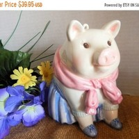 Piggy Bank Childrens Coin Bank Girl Pig Mud Pie Collectible Money Box Babys First Bank Pink and Blue Ceramic Baby Shower Gift Nursery Decor