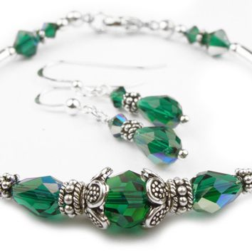 Solid Sterling Silver Bangle May Birthstone Bracelets & Earrings in Simulated  Emerald