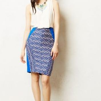 Saidia Pencil Skirt by Eva Franco Blue Motif
