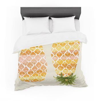 """Judith Loske """"Happy Pineapples """" Yellow Gold Featherweight Duvet Cover"""
