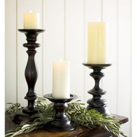 Turned Wood Pillar Holders | Pottery Barn