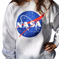 2017 Hot Women Hoodie Sweatshirt NASA Printed Long Sleeve Pullovers Jumper Hoodies O neck Casual Loose Tracksuit Sportwear P20