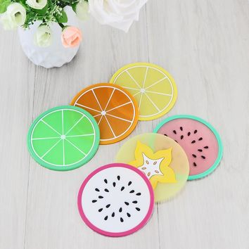 6Pcs/Set Fruit Coaster Colorful Silicone Tea Cup Drinks Holder Mat Placemat Pads