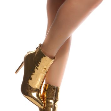 Gold Faux Leather Pointed Toe Ankle Booties @ Cicihot Boots Catalog:women's winter boots,leather thigh high boots,black platform knee high boots,over the knee boots,Go Go boots,cowgirl boots,gladiator boots,womens dress boots,skirt boots.