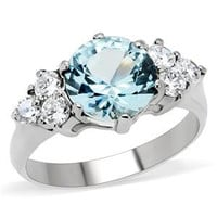 Nordic Ice Princess - Sparkling Beauty Stainless Steel Comfort Fit Ring with Aquamarine and Trio Of Clear Cubic Zirconias