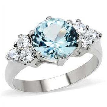 Nordic Ice Princess - Sparkling Beauty Stainless Steel Ring with Aquamarine Cubic Zirconia Center Stone