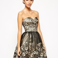 Chi Chi London Premium Bandeau Prom Dress with 3D Floral Applique Detail