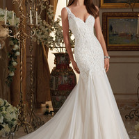 Blu by Mori Lee 5464 Tank Lace Fit & Flare Wedding Dress – Off White by Bridal Expressions