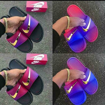 Airbrushed nike slides