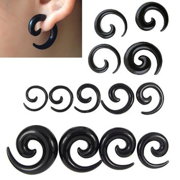 2.5-16mm 9 Pairs Acrylic Black Spiral Taper Ear Expanders Plug Gauges Ear stretching Ear Plugs Tunnels Body Piercing Jewelry