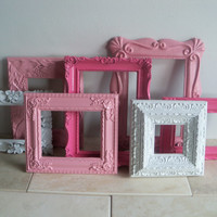 Vintage Picture Frames Collection / Nursery Decor / Pink Frames  Decor /  Girls Room Decor
