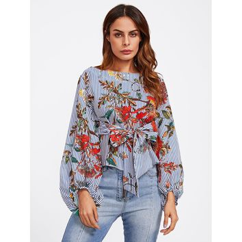 Multicolor Exaggerated Lantern Sleeve Belted Mixed Print Blouse