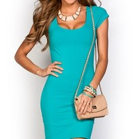 Vicky Turquoise Blue Scoop Neck Short Sleeve Bodycon T Shirt Dress