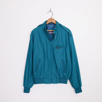 Members Only Jacket Teal Green Jacket Teal Blue Jacket Cafe Racer Jacket Bomber Jacket Hipster Jacket 80s Jacket Mens 40 M Medium L Large