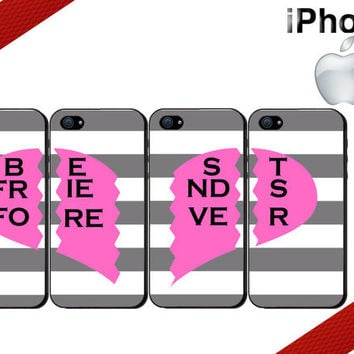 Best Friends Forever iPhone Cases - iPhone 4 Case or iPhone 5 Case - Four Case Set
