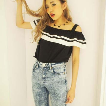 Japan gyaru neogal vivi style Evris off shoulder crop tank