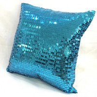 Luxury Sparkling Aqua Blue Sequins Pillow Cover. 16inch Bling Cushion