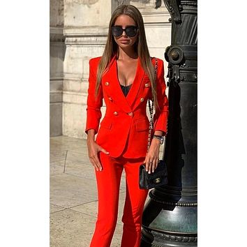 Get The Job Done Double Breasted Gold Button Long Sleeve V Neck Blazer Jacket Skinny Pant Two Piece Jumpsuit Set - 2 Colors Available