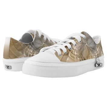 Earth Tones Abstract Modern Fractal Art Texture Low-Top Sneakers