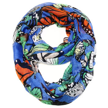 Monarch Butterfly Bold Blue Infinity Scarf