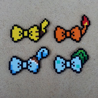 Hair Bows or Bow Ties - Pokemon Inspired Bows - Pikachu, Charmander, Squirtle, and Bulbasaur