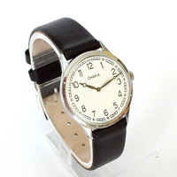 Minimalist Womens Watch CHAIKA. Ultra Slim Mechanical Woman Watch. Russian Watch Leather Strap. Womens Watch 80s. Soviet Watch For Women.