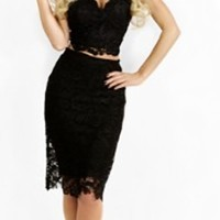 Black Sheer Lace Crop Bustier Sweetheart Top Bodycon Midi Two Piece Dress