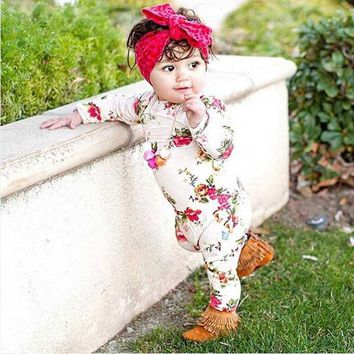 New Rose Floral Printed Rayon Clothing Baby Rompers Baby Girl Romper Floral Overalls for Children Baby Girls Clothes Jumpsuits