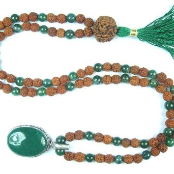 Fourth Heart Chakra- Green Jade Rudraksha Prayer Beads Meditation Mala 108+1 Yantra Pendant