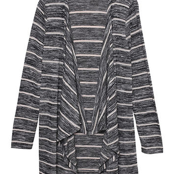 Olive + Oak Stripe Open Front Cardi | Light Heather Grey Stripe