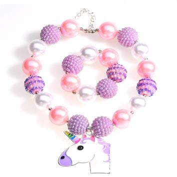Cute Pink Unicorn Pendant Chunky Bead Necklace Girls Bubblegum Necklace and Bracelet Set Handmade Toddler Necklace Gift for Kids