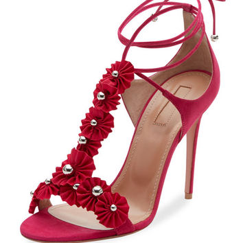 Aquazzura Studded Suede Ankle-Tie Sandal