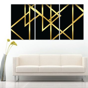 Gold Triangles Abstract Art Canvas Print