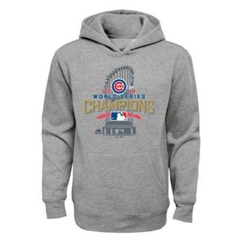 Youth Chicago Cubs Majestic Gray 2016 World Series Champions Locker Room Sweatshirt