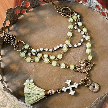 Vintage Tassel Necklace August Birthstone Peridot   Rosary rinestone cross cherub flaming heart Victorian beaded necklace Christian jewelry