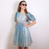 1950s (50s) Vintage Organza Silk Puff Sleeve Periwinkle Pin Up Dress