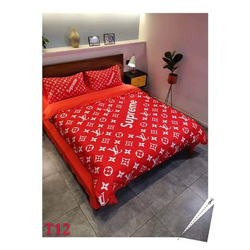Red SUPREME LV Fashion Modal 4 Pieces Sheet Set Blanket For Home Decor Bedroom Living Rooms Sofa