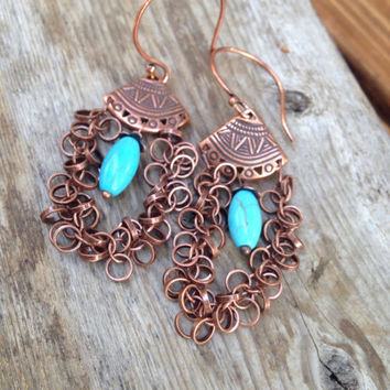 Copper and Turquoise  Earrings Long Bohemian Chandelier Earrings Long Copper Chain and Howlite Dangles