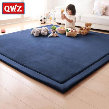 QWZ Thick Play Mats Coral Fleece Blanket Carpet Children Baby Crawling Tatami Mats Cushion Mattress for Bedroom Baby Game Gifts