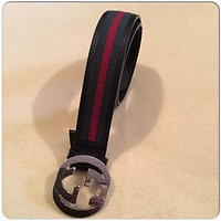 Gucci leather belt GG Silver buckle Green/Red with Interlocking G Size 100