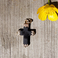 Victorian Whitby Jet and 9K Gold Cross Pendant