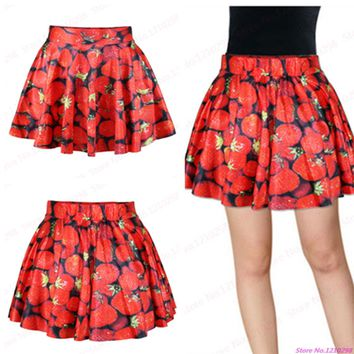 3D Red Strawberry MiniSkirts Pleated Summer Leisure A Line Short Skirts Sexy Ladies Cheerleading Sport Kilts Femininas Saias